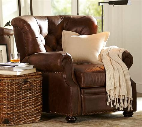 lansing leather recliner pottery barn