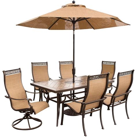 Umbrella And Table Set by Monaco 7 Dining Set With 9 Ft Table Umbrella