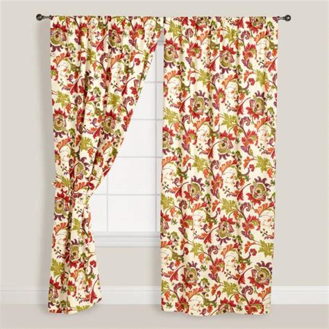 floral campione cotton curtains set   world market