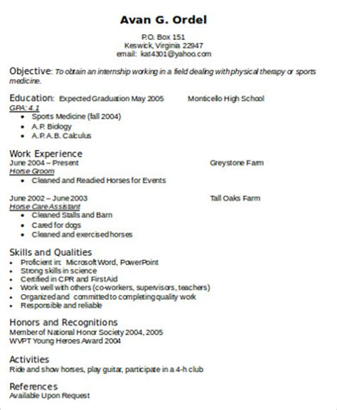 sample physical therapist resume  examples  word
