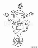 Coloring Unicycle Circus Monkey sketch template