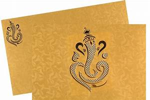 ganesha wedding card in golden yellow colour With wedding cards pictures ganesha