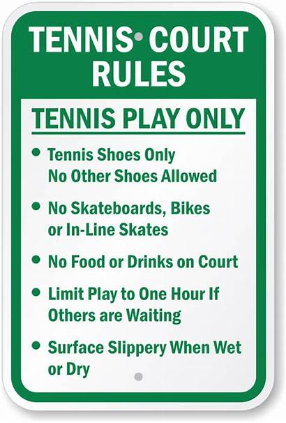 Tennis Rules Sign Play Court Signs Courts
