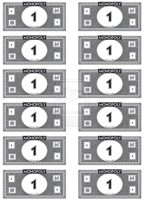 monopoly money template monopoly money 1 s by leighboi on deviantart