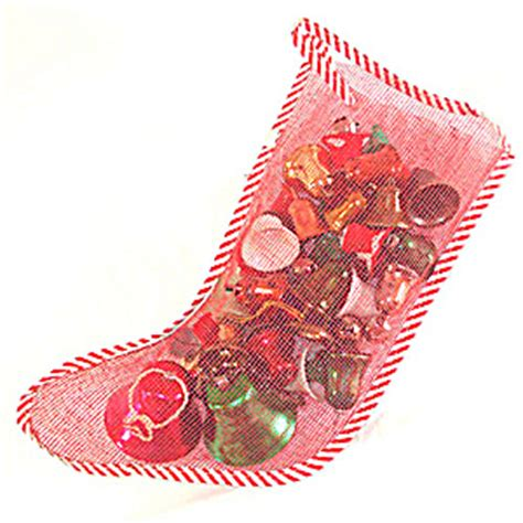 Each plastic stocking is 8 inches; Mesh Christmas Stocking Filled With Bell Ornaments (Ornaments, Plastic) at Copperton Lane ...