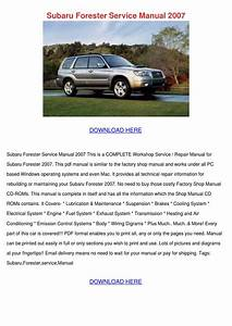 Subaru Forester Service Manual 2007 By Inagarnett