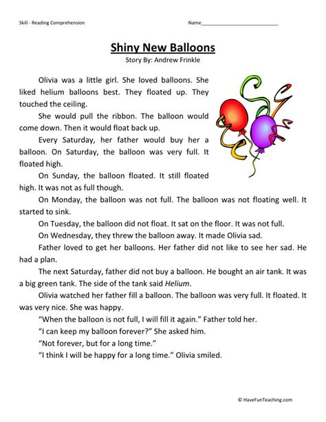 reading comprehension worksheet shiny new balloons