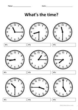 esl time worksheets  elementary school students