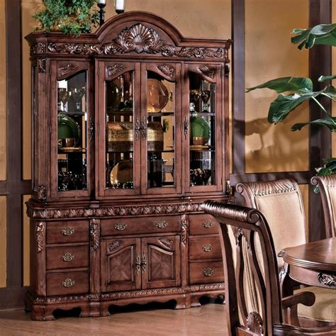 Silver China Cabinet by Steve Silver Harmony Traditional Carved Trim China Cabinet