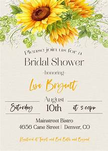 A7 Invitation Sunflower Country Bridal Shower Invitation Sugar And