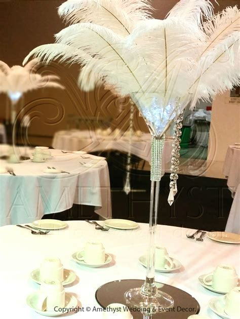 crystal feather martini centrepiece click   info