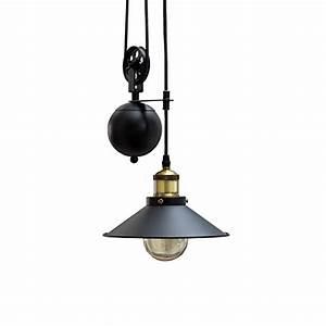 Lampe Industrial Style : retro h ngeleuchte rope schwarz h henverstellbar seilzug industrial design industrielampe ~ Markanthonyermac.com Haus und Dekorationen