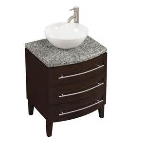 style selections flannery 24 in chocolate bathroom vanity with granite top faucet included