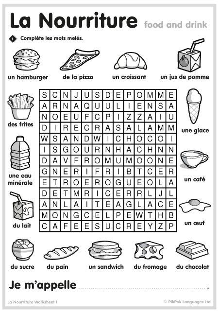 French Food Worksheets (With images) | French flashcards ...