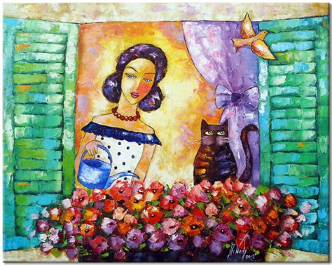 Finn czy zawsze można wierzyć własnym oczom? Obraz Ręcznie Malowany - Kobieta Podlewająca Kwiaty W Oknie