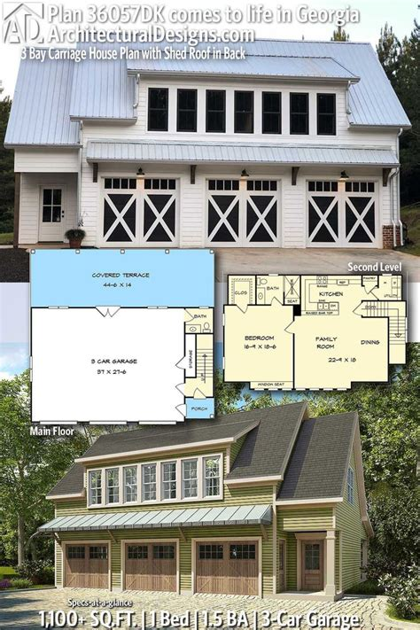 bay carriage house plan  shed roof     carriage house plans garage house