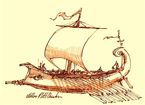 How To Draw A Ancient Boat by Trireme Boat Drawing The Odyssey Research