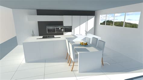 photo de cuisine design grande cuisine blanche avec îlot