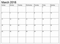 March 2018 Calendar Printable Templates PDF, Word, Excel