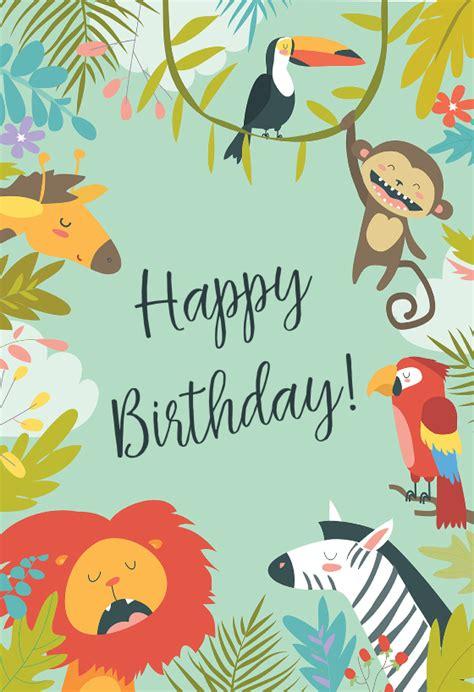 wild animals birthday card   island