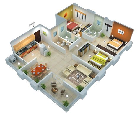 25 More 3 Bedroom 3D Floor Plans  Dreams Pinterest