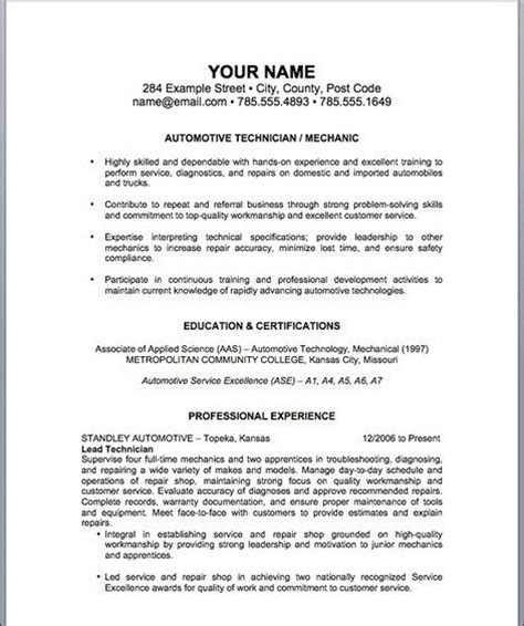 22111 mechanic resume template 17 best ideas about auto mechanic on car