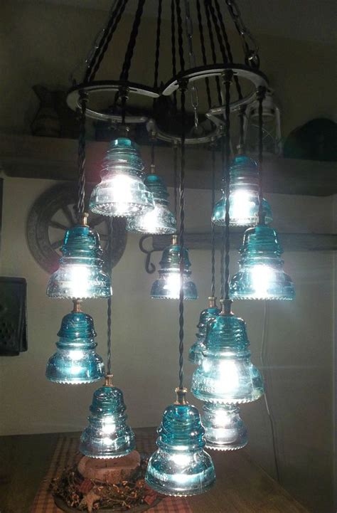 shoe antique glass insulator chandelier light