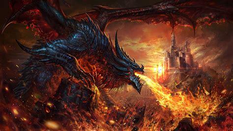fantasy dragon  breathing fire  castle hd dreamy