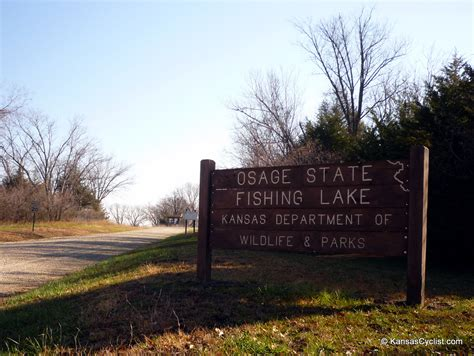 osage state fishing lake entrance sign kansas cyclist