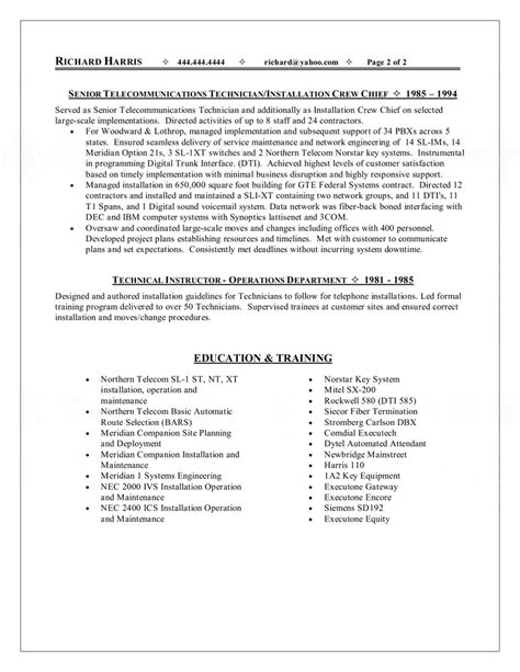 Telecommunications Technician Resume by Telecommunications Resume