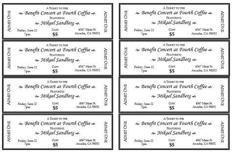 concert ticket templates create custom