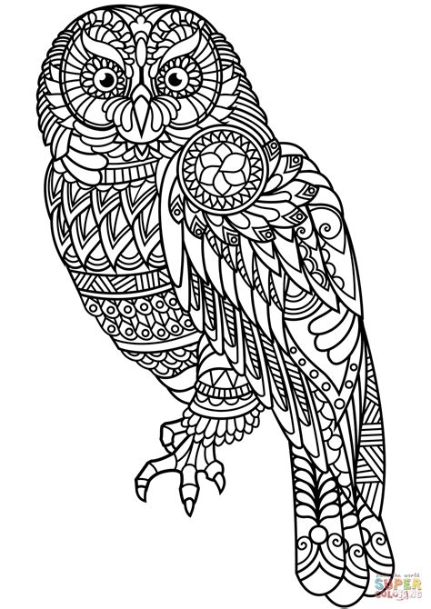Coloring Zentangle by Owl Zentangle Coloring Page Free Printable Coloring Pages