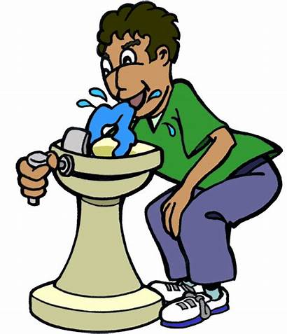 Water Clipart Drinking Fountain Drawing Drink Boy