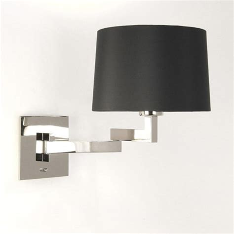 moveaable swing arm over bed wall light in chrome with