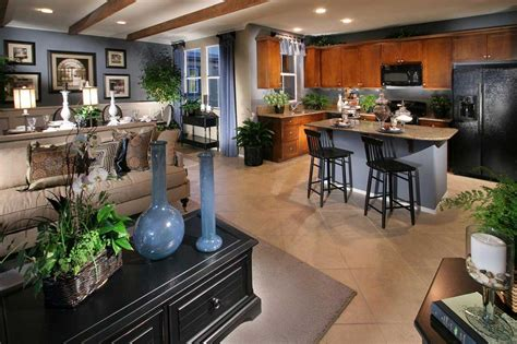 Modern Compact Decorating Open Concept Kitchen Living Room