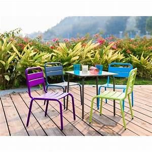 Table Enfant Exterieur : ensemble table de jardin et 4 chaises en acier pour enfant ~ Melissatoandfro.com Idées de Décoration