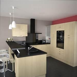 cuisine bois couleur mur cuisine avec meuble bois clair With couleur mur cuisine bois