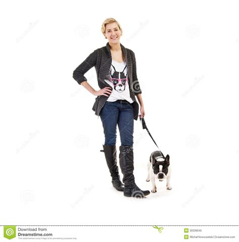 Woman With Her Dog On Leash Over White Background Royalty ...