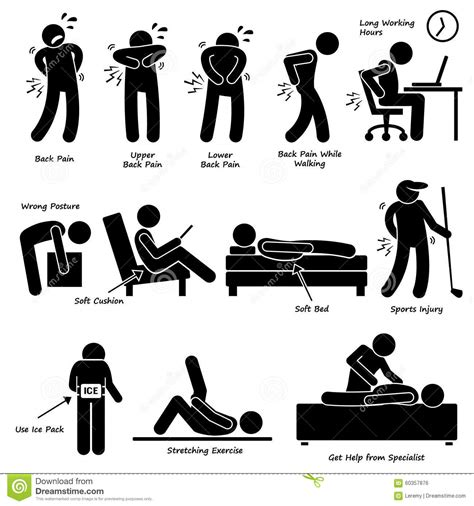 pain backache pictogram clipart stock vector image