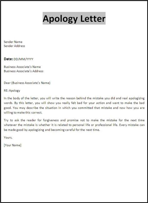apology letters  word templates