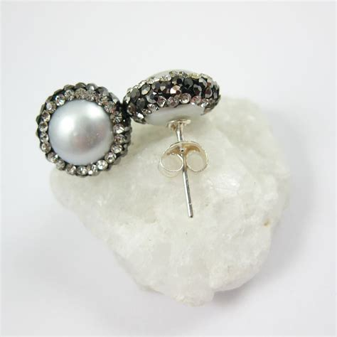pave jewelry silver freshwater pearl pave earring sterling silver posts pearl and pave earrings 1 pair