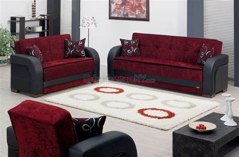 Burgundy Fabric & Black Vinyl Modern