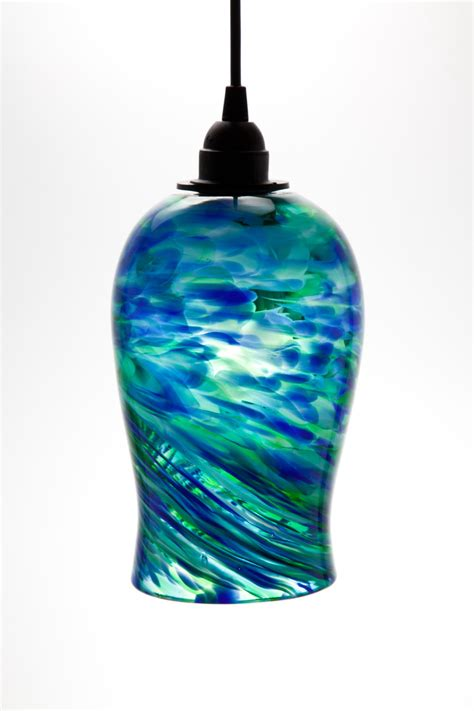 blown glass pendant lights blown glass hanging light pendant fixture in blue and