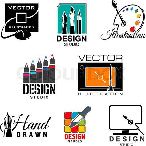 graphic and web design studio symbol set graphic designer