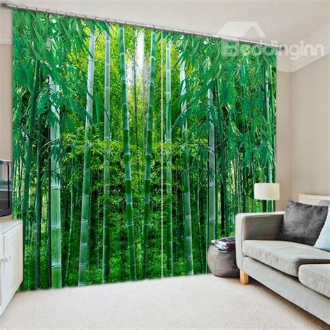 flourishing green bamboos printed natural scenery
