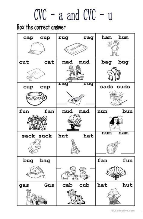 Cvc A And Cvc U Worksheet  Free Esl Printable Worksheets Made By Teachers