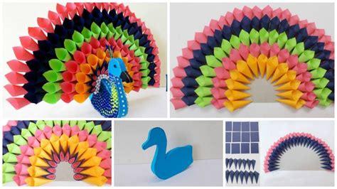 multicolored paper peacock simple craft ideas