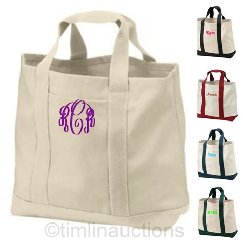 reusable canvas shopping tote bag grocery book bag personalized monogrammed gift ebay