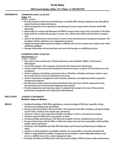 compensation analyst resume samples velvet jobs
