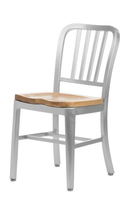 aluminum navy style restaurant chair with oak seat